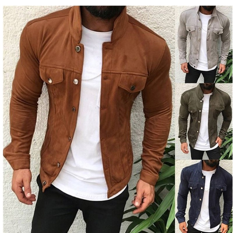 Spring New Men's Bomber Buttons Jacket Male Casual Streetwear Hip Hop Slim Fit Pilot Coat Men Clothing Plus Size