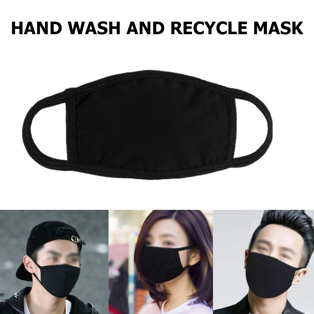 2020 Newly Black/White Cotton Two-layer Mouth Mask Dustproof Reusable Washable Men Women Face Mask