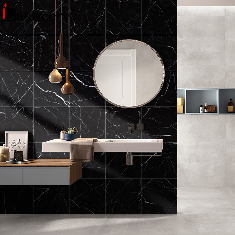 Black Marble Tile Wall Decal Vinyl