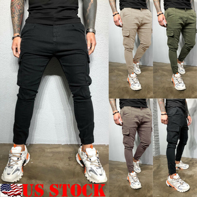 US Mens Fashion Slim Fit Tracksuit Sport Gym Skinny Jogging Joggers Sweat Pants Trousers 2019 New