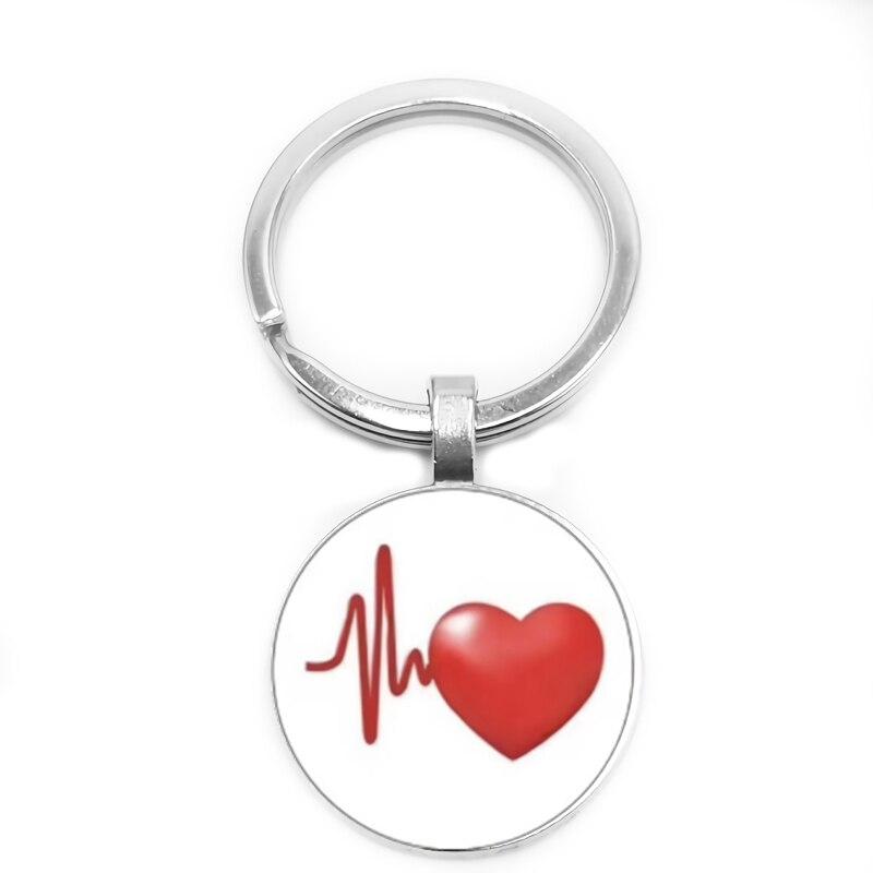 2019 Novo Temperamento Coração Taxa de Batimentos Cardíacos Batendo Menina Cabochon De Vidro Moda Keychain Chave Do Carro Pingente Anel de Presente Da Jóia