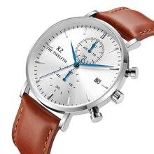 Montres à Quartz pour hommes, en cuir véritable, bracelet pour chronographe calendrier de luxe, 2019, Vintage, nouveauté, décontracté, X2 066G
