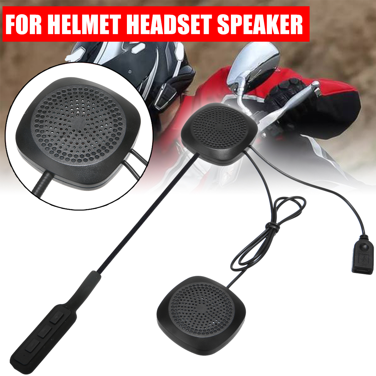 1SET High Quality Earphone Speaker Motorcycle Helmet Bluetooth Headset Headphone Mic Stereo Hands Free DC5V V4.2+bR+EDR