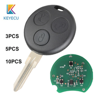 KEYECU 10PCS for Mercedes Benz Smart City Fortwo Forfour Roadster 450 2000 2005 Remote Key Cover Case 3 Buttons 433MHz