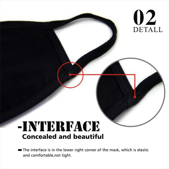 Fashion Black Face Mask kpop Reusable Cotton Glow At Night Multiple Facial Masks For Men Cool Hip Hop Mask For Germ Protection 3