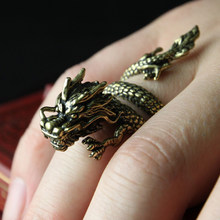 New Design Retro Adjustable Silver Dragon Ring For Men Women Personality Fashion Finger Opening Rings Dropshipping(China)