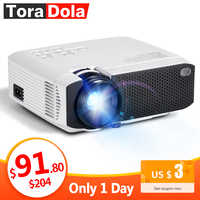 TORA DOLA Android 7.1OS proyector Mejor proyector LED HD. Mini cine en casa, 1280x720 resolución 1080P Beamer portátil 3D TD01