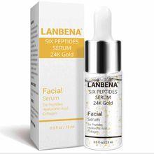 Lanbena vitamina c 24k ouro seis peptides soro rosto anti-envelhecimento rugas hidratante clareamento cuidados com a pele