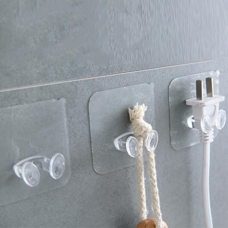 10PCS Adhesive Hooks Rack Wall Hanger Space Saver Flower Heavy Load Transparent Strong Self Strong Kitchen Bathroom Towel Door