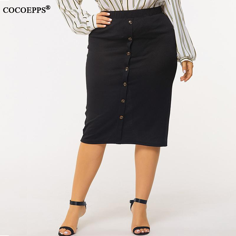 L-4XL 2020 Spring Plus Size Women Skirt Casual Single Breasted Elastic Waist Office Lady Skirt Large Size Black Bodycon OL Skirt