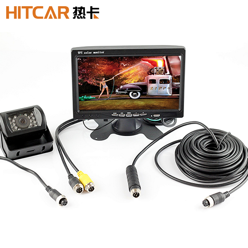 4Pin Plug Connector 12V 24V 7 Inch HD Monitor Reversing Night Vision Rear View Backup Camera Parking Kit For Car Bus Truck