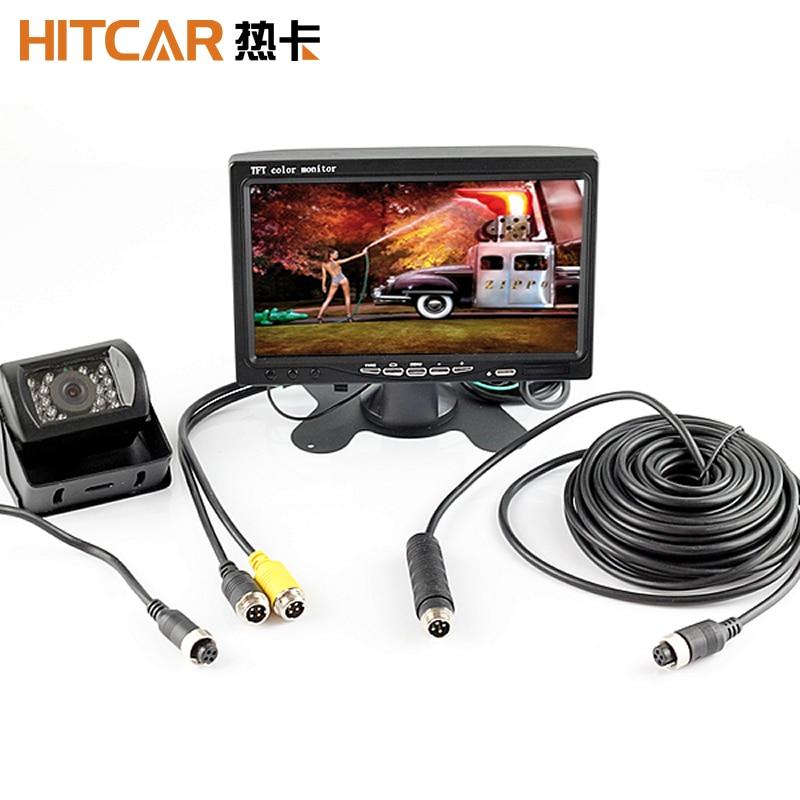 Conector de clavija de 4 pines para coche, Monitor HD de 12V, 24V, 7 pulgadas, visión nocturna de marcha atrás, cámara trasera, Kit de estacionamiento para coche, autobús y camión