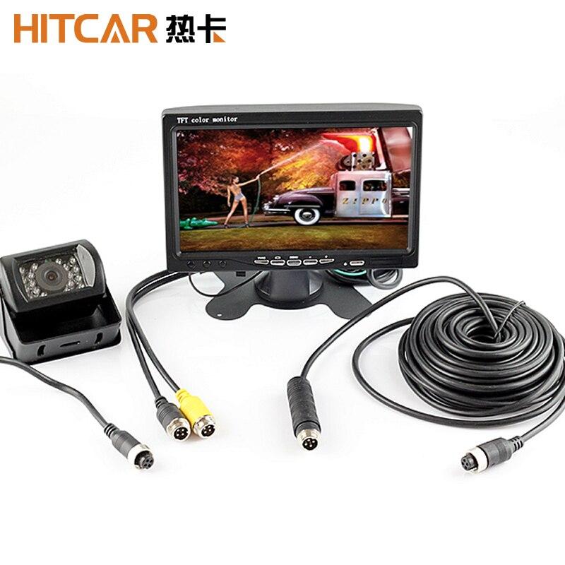Kit de estacionamiento con Monitor HD de 7 pulgadas para coche, autobús y camión, Conector de clavija de 4 pines, cámara trasera de visión nocturna, marcha atrás