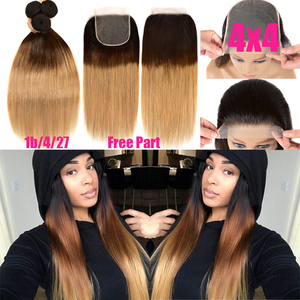 Image 4 - Ombre Straight Hair Bundles With Closure Remy Human Hair Bundles With Lace Closure Ombre Peruvian Hair 3 Bundles With Closure