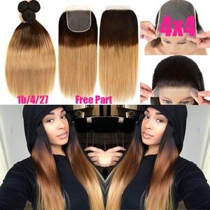 Image 4 - Ombre pacotes de cabelo reto com fechamento remy feixes de cabelo humano com fechamento do laço ombre cabelo peruano 3 pacotes com fechamento