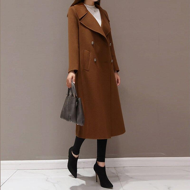 Nuevo abrigo de lana de Invierno para mujer abrigo largo doble botonadura Casual elegante chaqueta femenina Casaco femenino negro de talla grande 5XL - 3