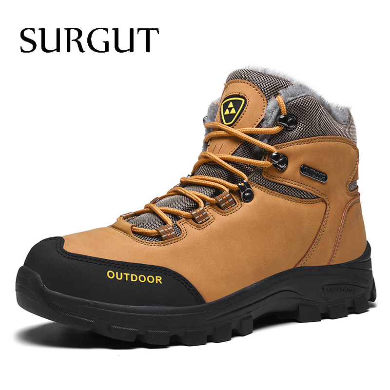 SURGUT New Men Boots Winter With Fur 2019 Warm Snow Boots Men Outdoor Work Shoes Men Footwear Fashion Casual Ankle Boots 39~46