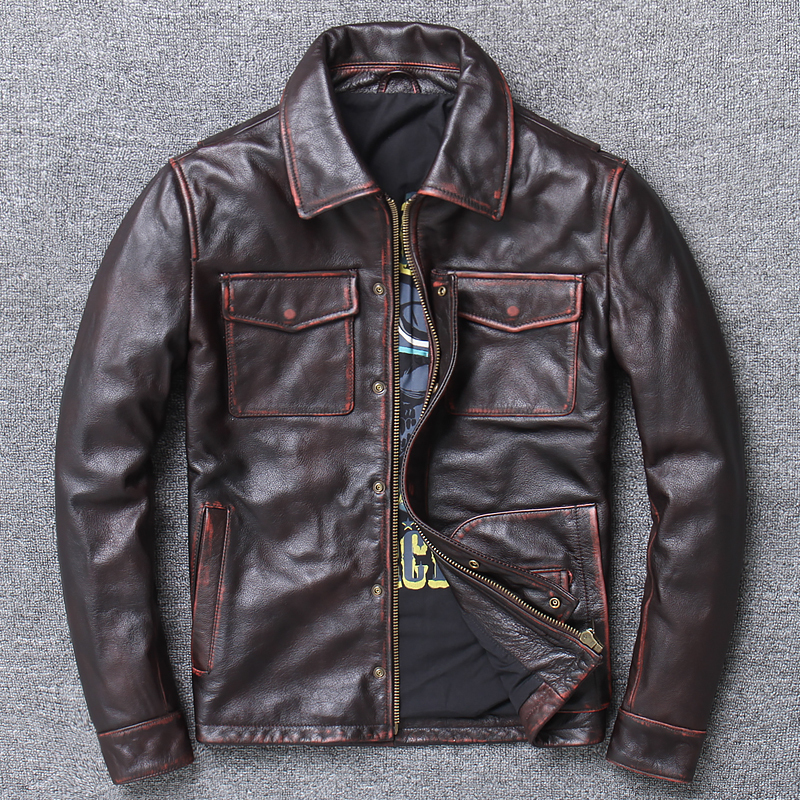 Free shipping.2020 Brand new cowhide Jacket,men vintage genuine Leather biker jacket.classic casual leather coat,goathide sales