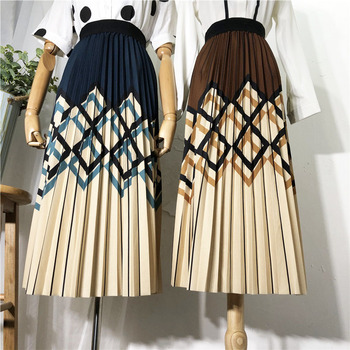 Geometric Striped Skirt Women Autumn Winter 2020 Offce Lady Black Pleated Skirt Casual A-Line Patchwork Print Elegant Long Skirt diamond striped pleated skirt fashion elastic waist a line elegant long skirt for women autumn winter streetwear patchwork skirt
