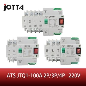 ATS Dual de Interruptor de Transferencia Automática JTQ1-100A 2P/3P/4P disyuntor MCB AC 230V hogar carril de 35mm instalación 1