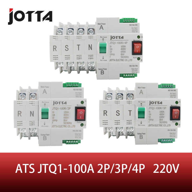 ATS Dual-Power-Automatic Transfer Switch JTQ1-100A 2 P/3 P/4 P Circuit Breaker MCB AC 230V Haushalt 35mm Schiene Installation