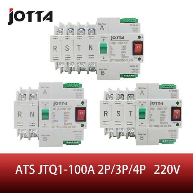 ATS Dual Power Automatic Transfer Switch JTQ1 100A 2P/3P/4P  Circuit Breaker MCB AC 230V  Household 35mm Rail Installation