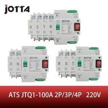 ATS Dual Power automatyczny przełącznik transferu JTQ1 100A 2 P/3 P/4 P przerywacz MCB AC 230V gospodarstwa domowego 35mm montaż na szynie