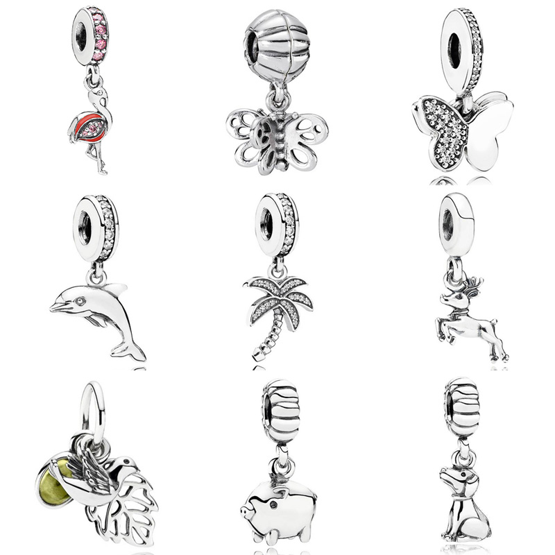 Dolphin Best Friend Butterfly Reindeer Pink Flamingo Pendant Charm Fit Pandora Bracelet 925 Sterling Silver Bead Charm Jewelry(China)