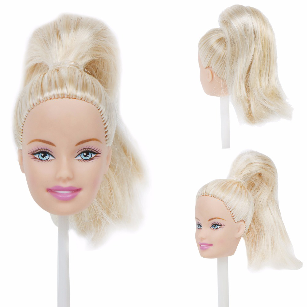 High Quality Fashion Doll Head For 12'' Doll White Blone Wave Curly Hair Cool Makeup DIY Dollhouse Accessories Toy 1/6