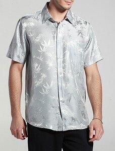 Image 2 - Camisa de manga curta para homens, camisa de bambu jacquard charmeuse, camisas de negócios de seda pura, manga curta, tamanho g, gg, ggg, ggg, 100%