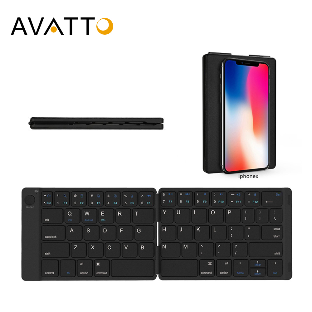 AVATTO Soft Leather Portable English Bluetooth Wireless Folding Mini Keyboard For IOS,Android Tablet,iPad,Phone