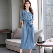 Casual Cowboy Loose Jeans Dress 2019 Summer New Womens Korean Fashion Elastic Waist Japan Denim dresses Vestidos Muje M-2XL