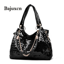 女性のための2020ファッション女性のバッグの革スパンコールの女性のハンドバッグ光沢のある女性のハンドバッグチェーンショルダーバッグブランドデザイナー