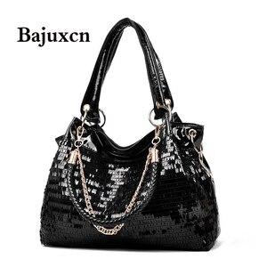 Image 1 - bags for women 2020 Fashion women bag Leather Sequins Women Handbags Shiny Ladies Handbag Chain Shoulder Bags Brand Designer