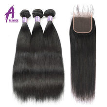 Straight Hair 3 Bundles With Closure Brazilian Human Hair Bundles Non-remy Alimice Hair Bundles Straight Hair With Closure(China)