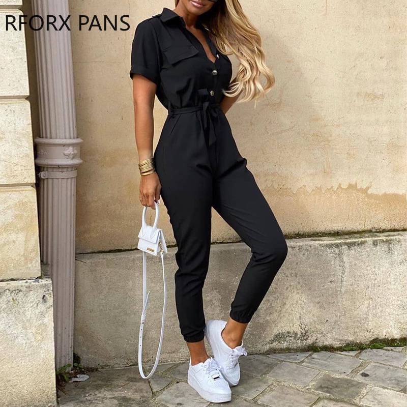 Womens Short Sleeve Casual Pockets Lace Up Solid Jumpsuit