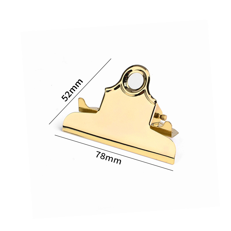 Cross Border Hot Selling Customizable Faux Gold 78mm Painting Board Clip A4 Tablet Clip Double-buret Clamp Metal Folder