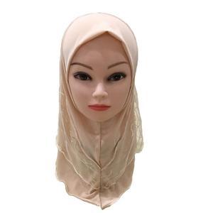 Image 3 - 2019 Meisjes Kids Moslim Pretty Hijab Islamitische Arabische Sjaal Sjaals Bloem Patroon Hoofddoek Kinderen Sjaals Wrap Hoofddeksels Caps Amira