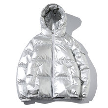 Winter Men Jacket Thick Warm Parka Jackets Silver Bright Glo