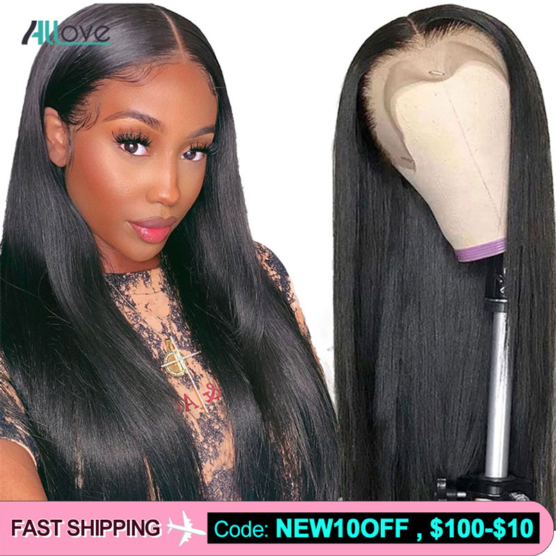 Allove Straight Lace Front Wig Pre Plucked Hairline With Baby Hair Brazilian Lace Front Human Hair Wig 4x4 6x6 Closure Wigs