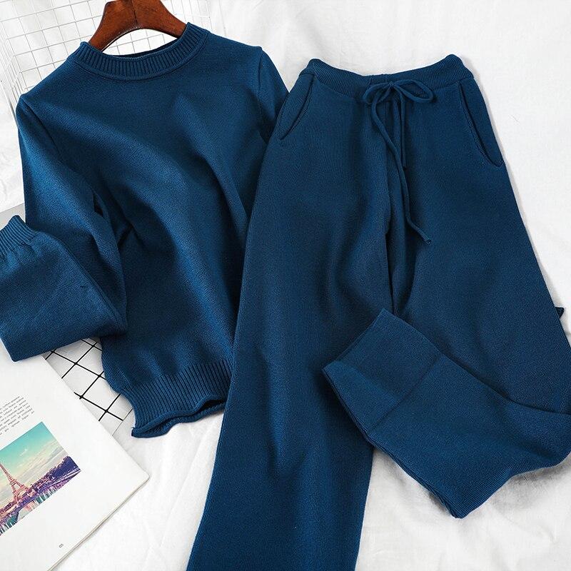 Mooirue, зимние вязаные штаны, набор, для женщин, с круглым вырезом, Повседневный пуловер + карманы, высокая талия, штаны, Ретро стиль, уличная оде...