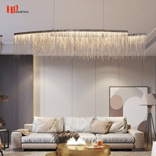New Creative Rectangle Chandelier Indoor Lighting Modern Tassel LED Wires Hanging Lamp for Living room Dining room Restaurant Lo