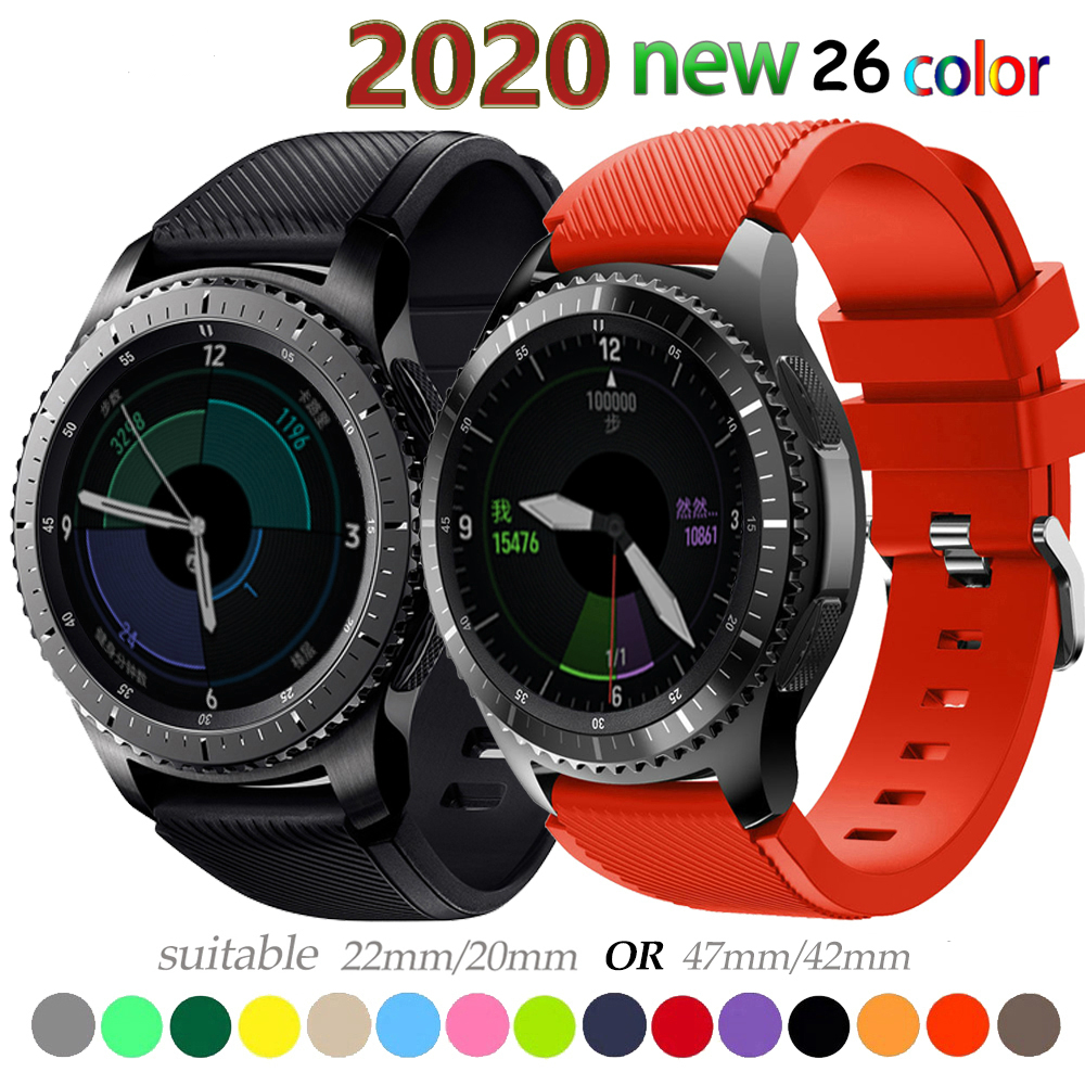 20 22mm Watch Band For Samsung Galaxy Watch 46mm 42mm Active 2 Gear S3 Frontier Strap Huawei Watch Metal Button Clasp