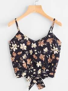Camis Top Blouse Self-Tie Floral-Crop Summer Tank Neck-Print Female Casual Women's Ladies