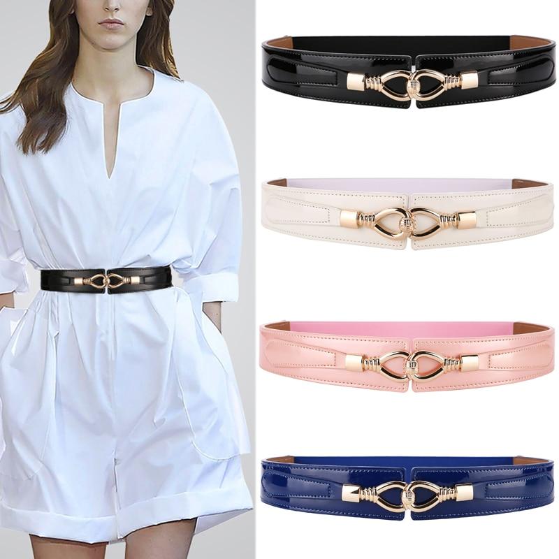 Cow Skin Leather Elastic Waistbands Ladies Fashion Belt Wide Cummerbunds For Dress Blue Bright Genuine Leather Gold Buckle Cow