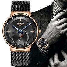 relogio masculino LIGE Watches Men's Fashion Stainless Steel Ultra-thin Quartz W
