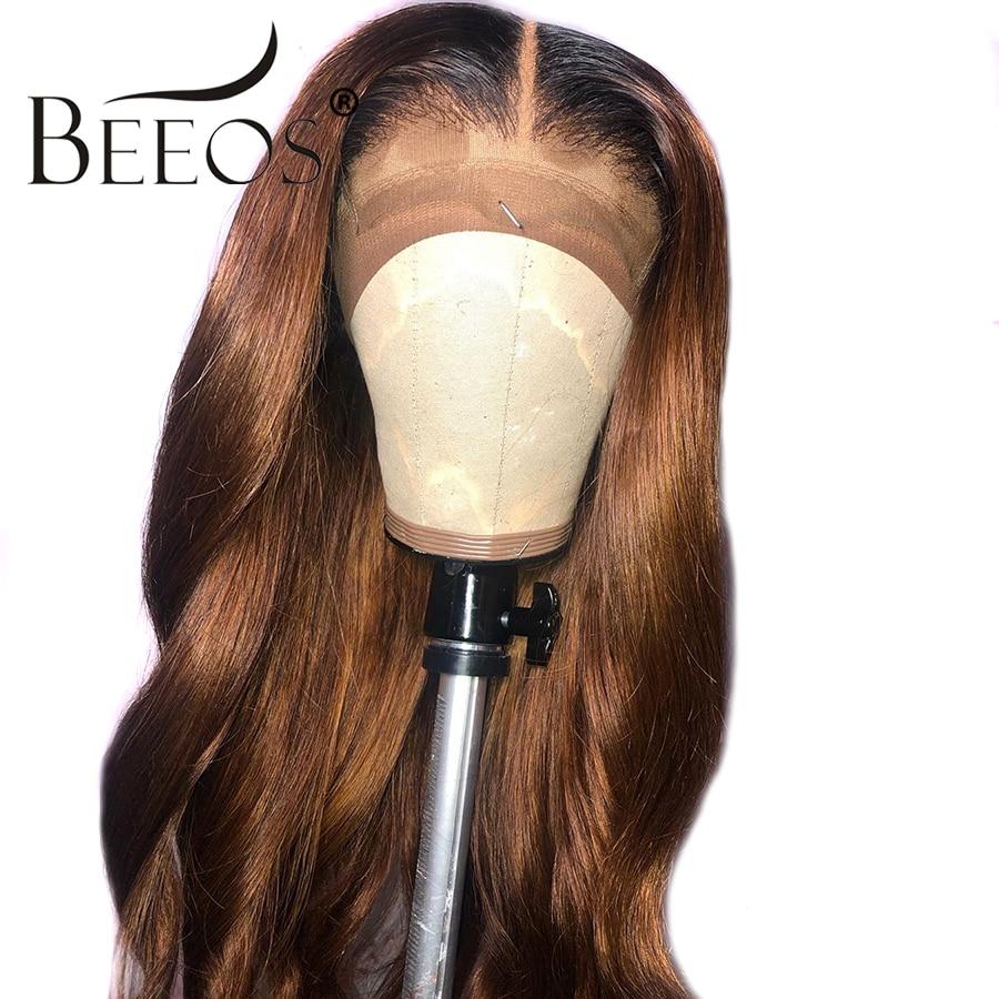 Beeos Ombre couleur 13*6 dentelle avant perruques bébé cheveux brésilien Remy vague de corps perruques pour les femmes 1b30 perruque de cheveux humains noeuds blanchis