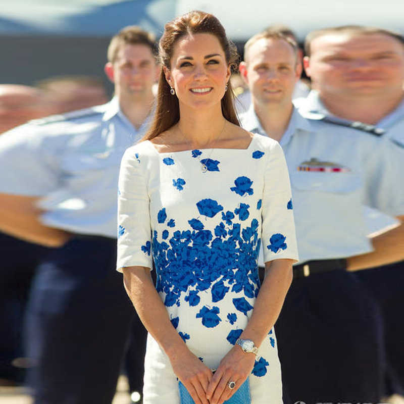 Kate Middleton High-End Customization Fashion Elegante Formele Office Lady Werkplek Korte Mouw Blue Printing Jurk
