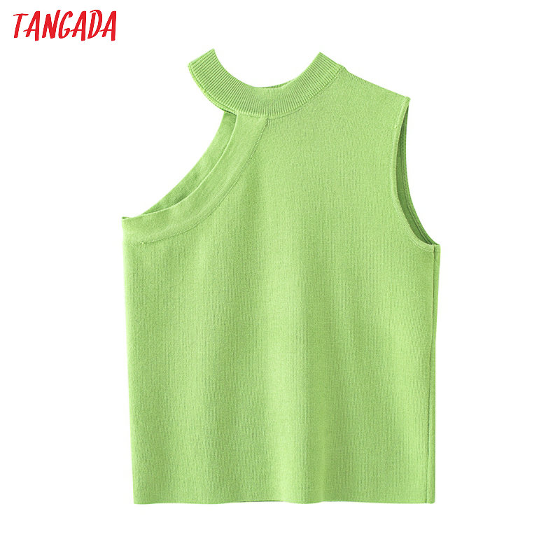 Tangada Women Elegant Green Sweater Shoulder Off Sleeveless O Neck Pullovers Female Casual Tops QJ47