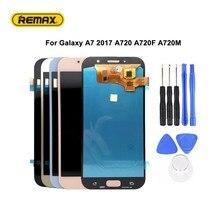AMOLED لسامسونج غالاكسي A7 2017 A720 A720F A720M LCD شاشة عرض تعمل باللمس محول الأرقام الجمعية مع مجموعة من أداة تجميع